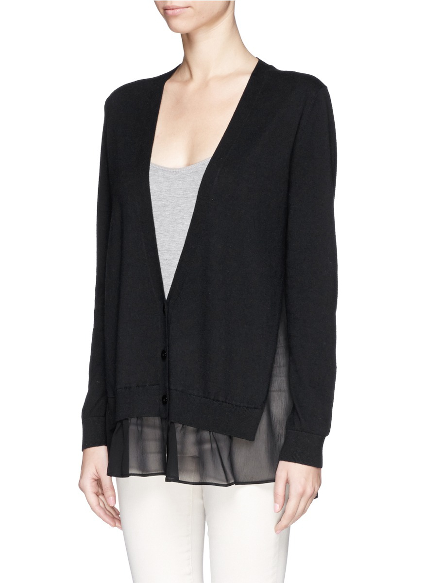 Theory 'Haveera' Silk Chiffon Insert Knit Cardigan in Black | Lyst