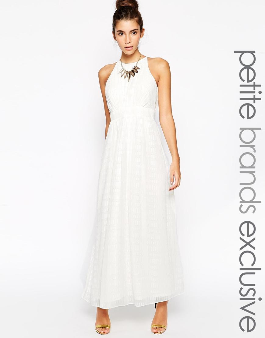 Little mistress Embellished Halter Neck Maxi Dress in White | Lyst