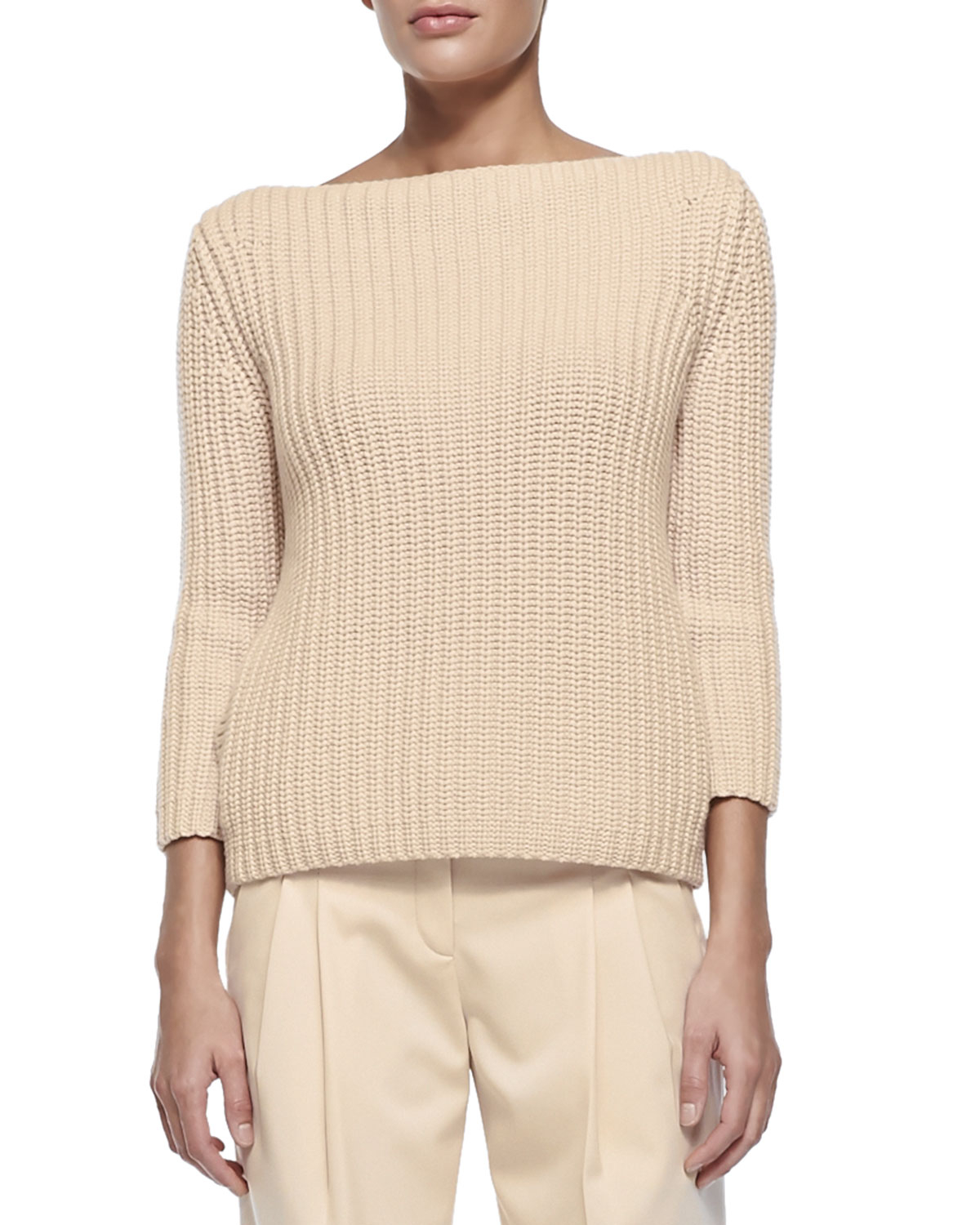 Michael kors Shaker-Knit Sweater in Natural | Lyst