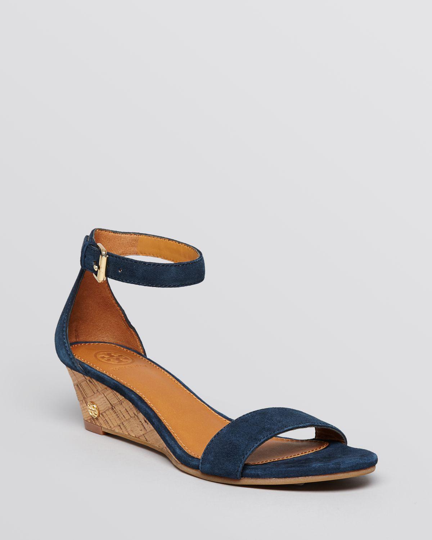 48116cee31562 ... usa lyst tory burch wedge sandals savannah cork in blue c9f47 b59ae