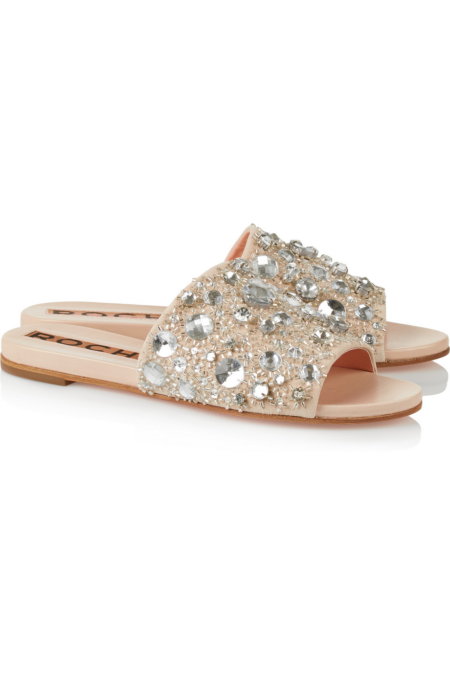Lyst Rochas Crystal Embellished Suede And Leather Slides