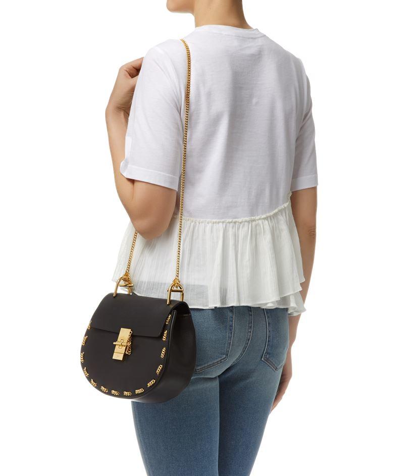 Chlo¨¦ Small Drew Chain Trim Shoulder Bag in Black | Lyst