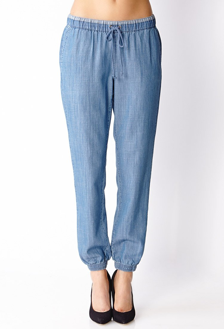 Forever 21 Contemporary Classic Denim Joggers In Blue Lyst