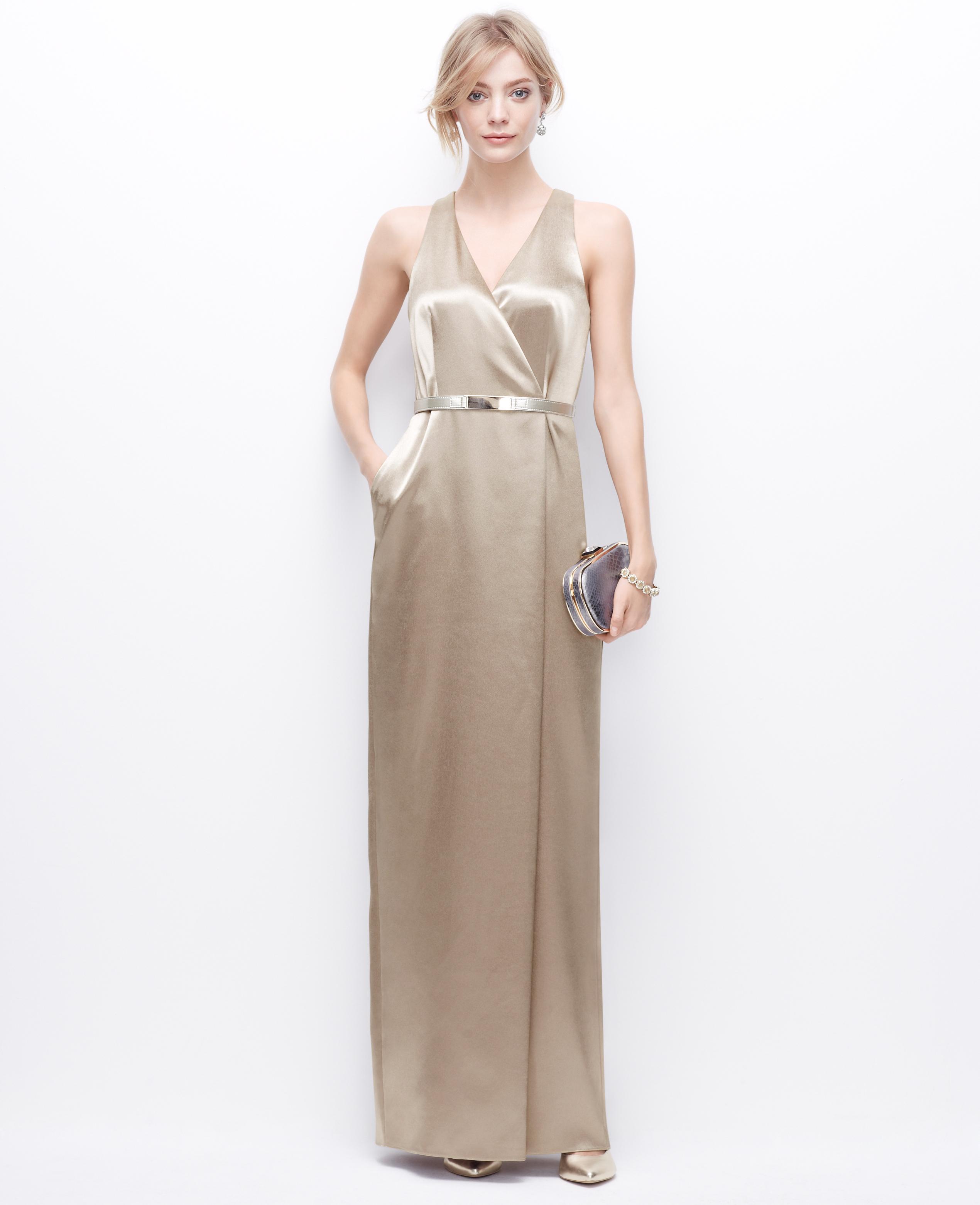 Lyst - Ann Taylor Petite Satin V-Neck Gown in Metallic