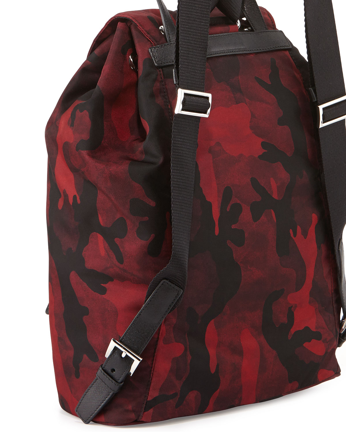 26521e73f80c39 Prada Tessuto Camouflage Backpack in Red for Men - Lyst