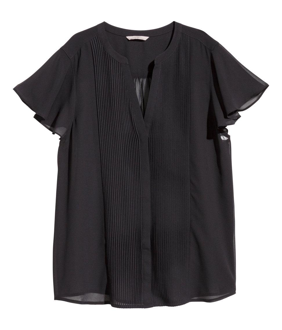0003db80ea60 H&M + Butterfly Sleeve Blouse in Black - Lyst