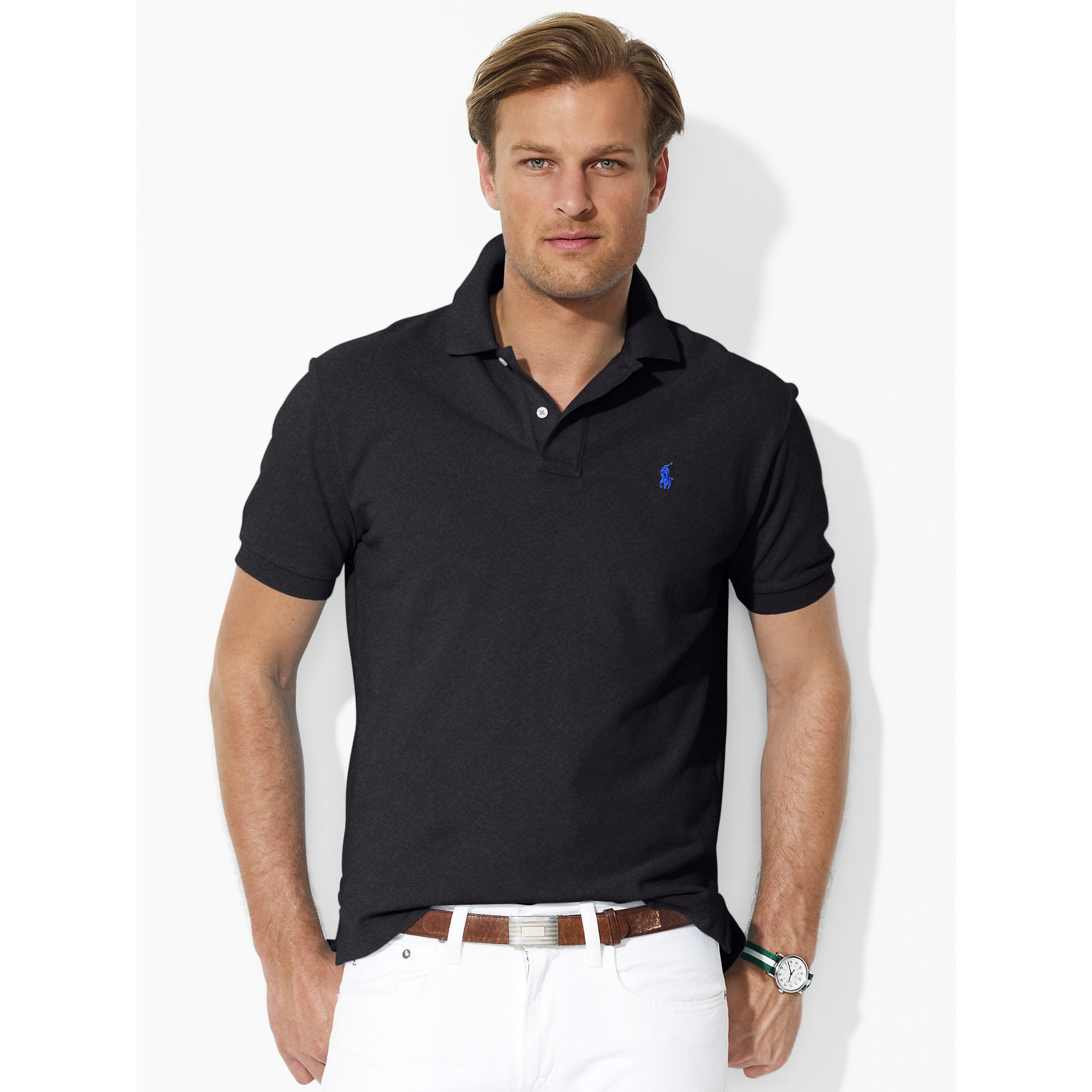 polo ralph lauren classic fit mesh polo shirt in gray for