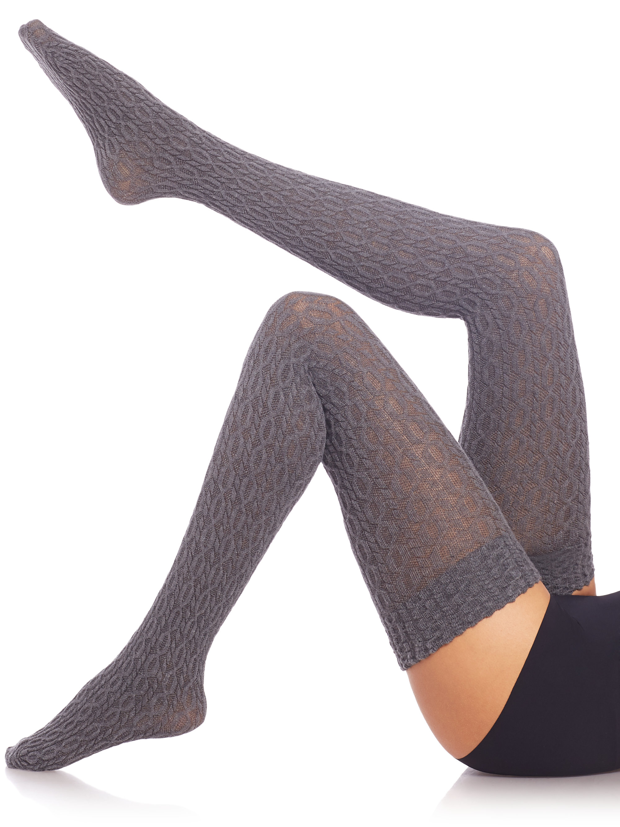 Lyst - Fogal Eyrin Cable-knit Thigh Highs in Gray 1f284e9ec