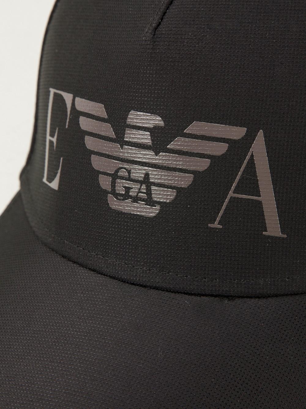 Emporio armani logo cap in black for men lyst - Emporio giorgio armani logo ...