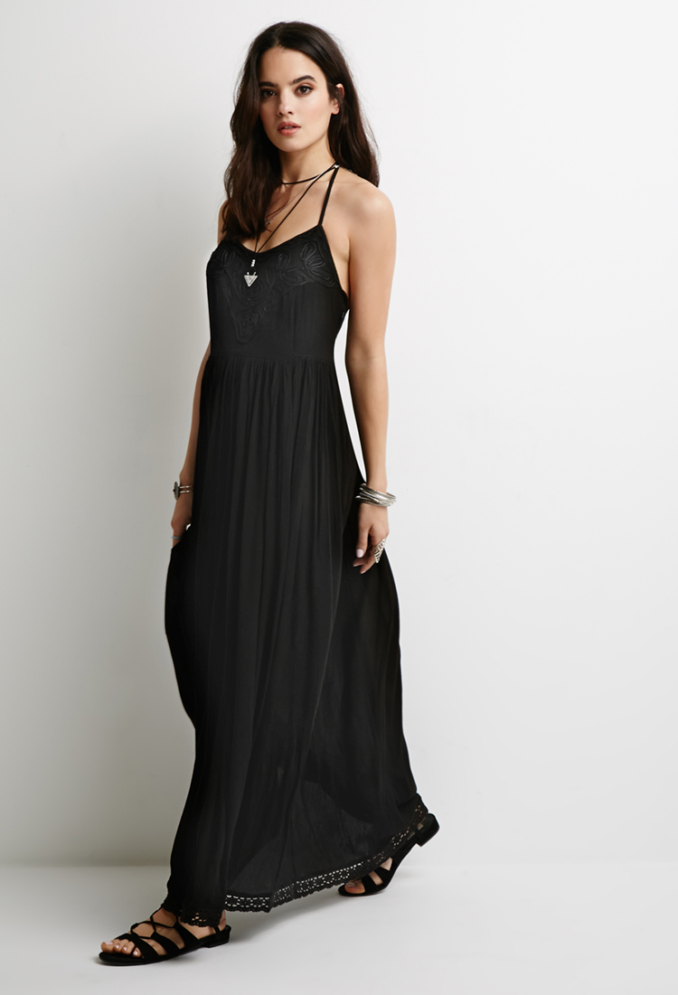 Forever 21 Embroidered Gauze Maxi Dress in Black | Lyst