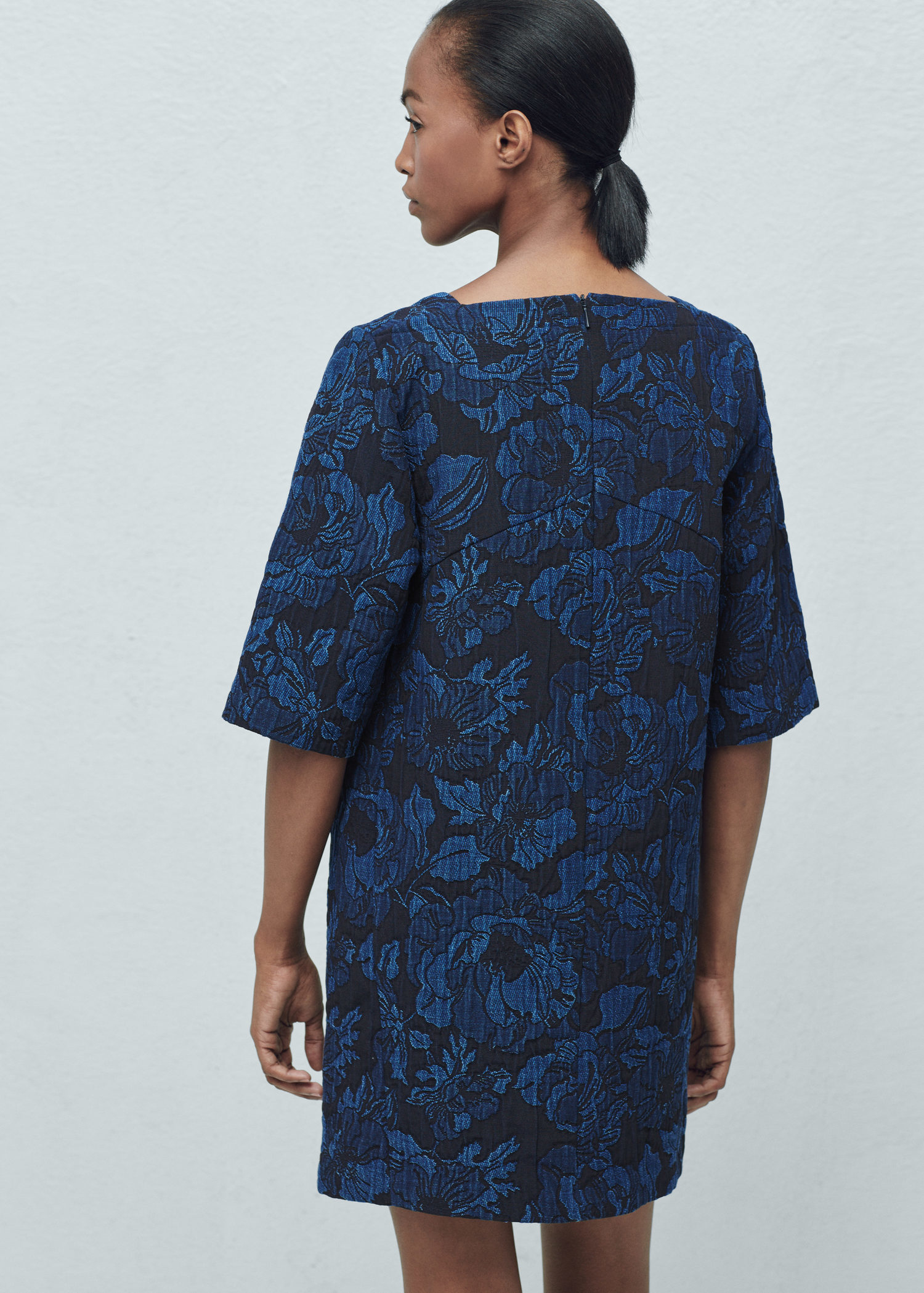 Lyst - Mango Textured Jacquard Dress in Blue 1223008e8