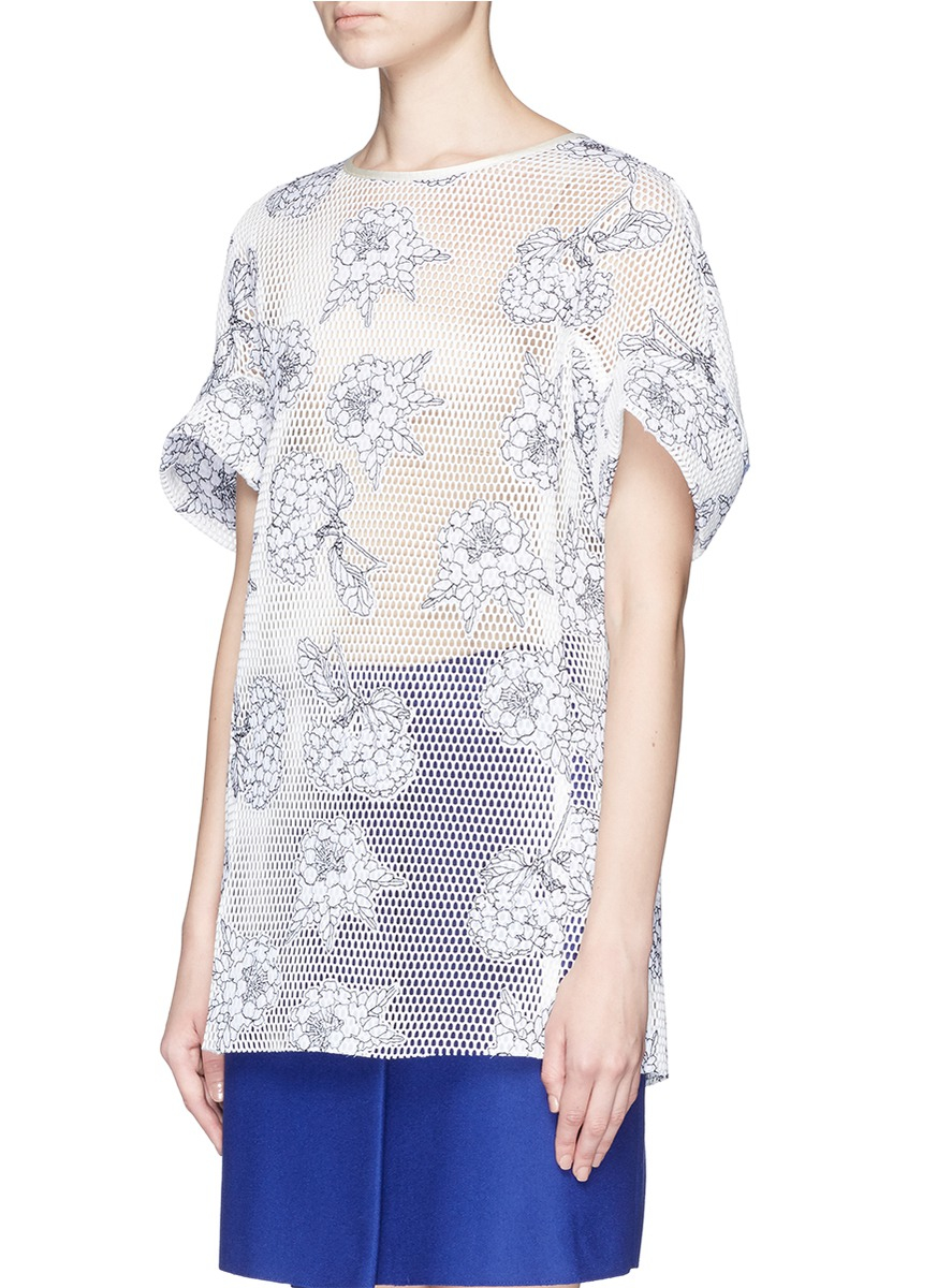 Helen lee floral embroidery mesh long t shirt in white lyst for Embroidered mesh t shirt