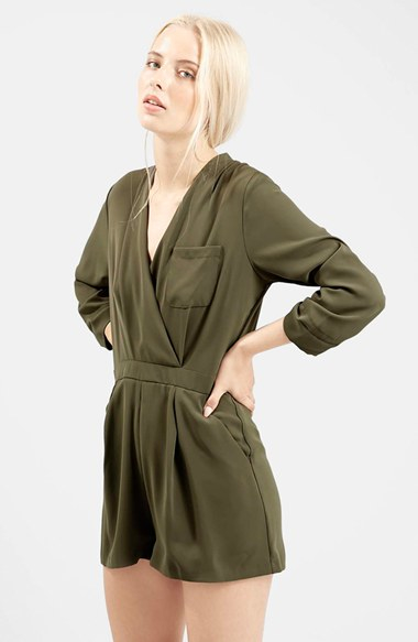 Lyst Topshop Wrap Front Romper In Green