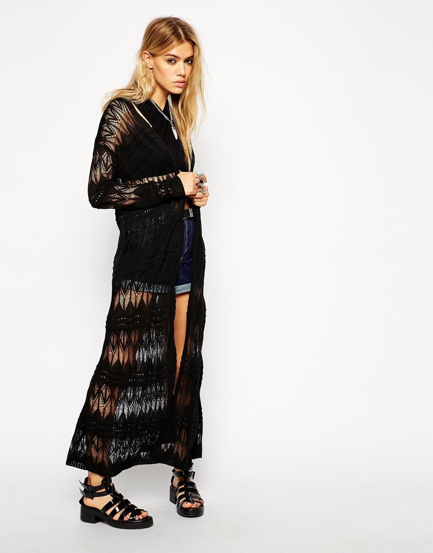 Asos Maxi Longline Cardigan In Crochet in Black | Lyst
