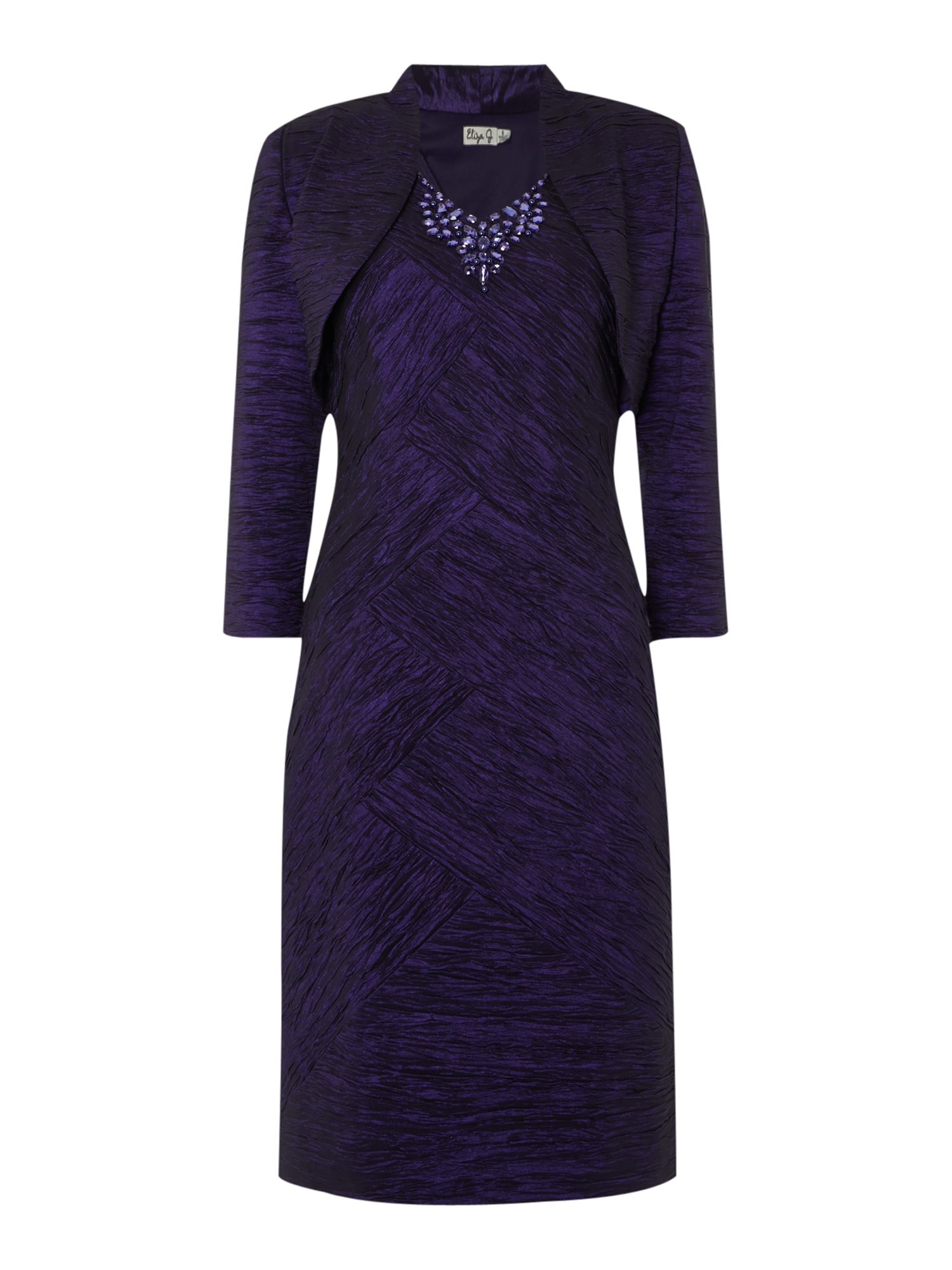 Eliza j Crushed Taff Dress With Jacket in Purple