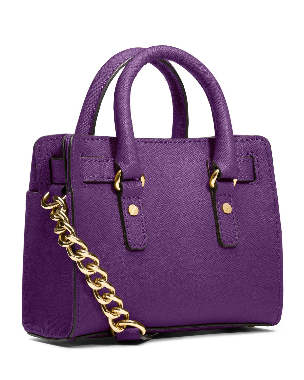 d27a37c7cd02 Lyst - Michael Kors Michael Mini Hamilton Messenger Bag in Purple