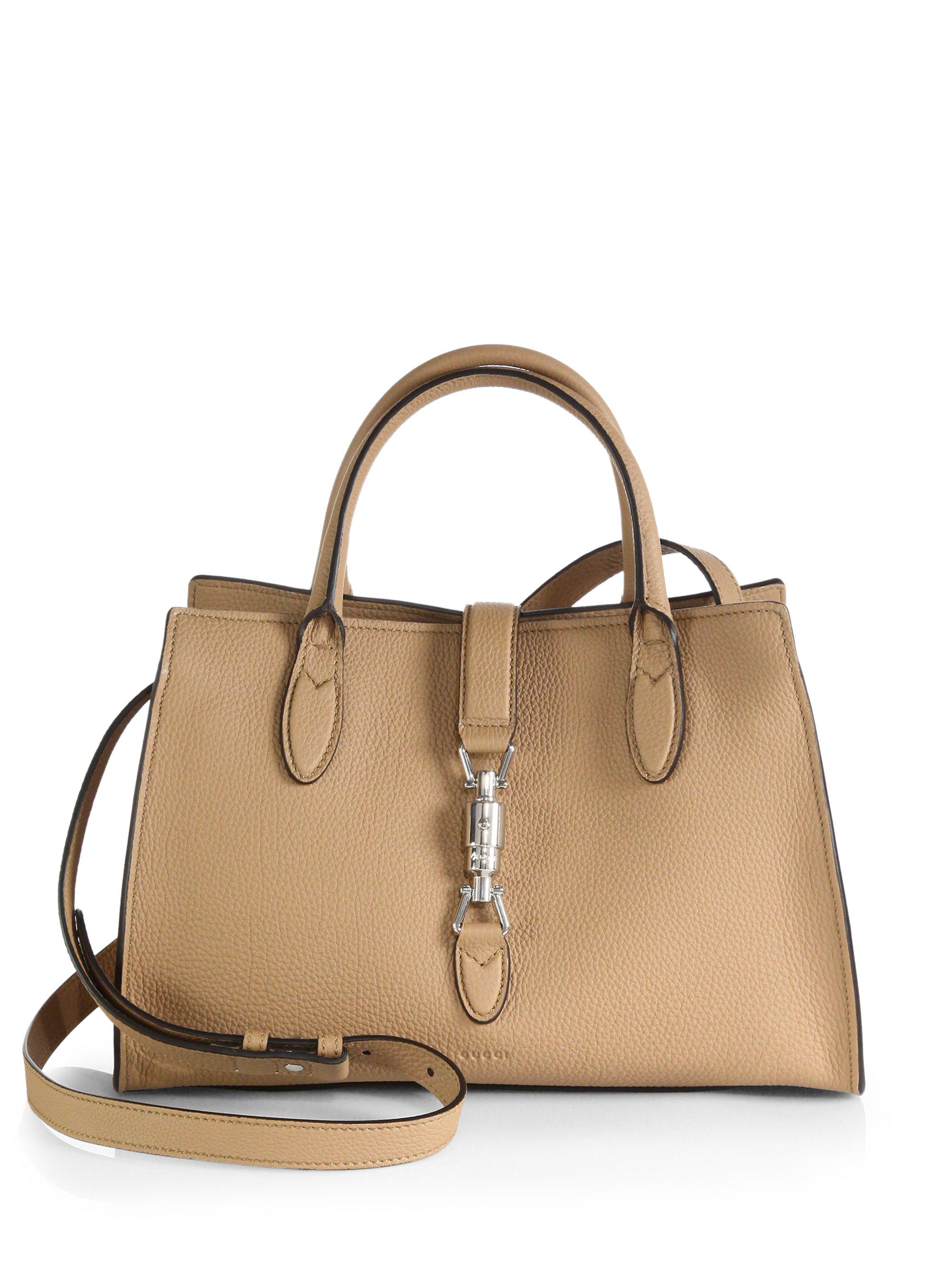 5d2d43de61b ... info for 90e91 5a75b Lyst - Gucci Jackie Soft Leather Top Handle Bag in  Natural ...