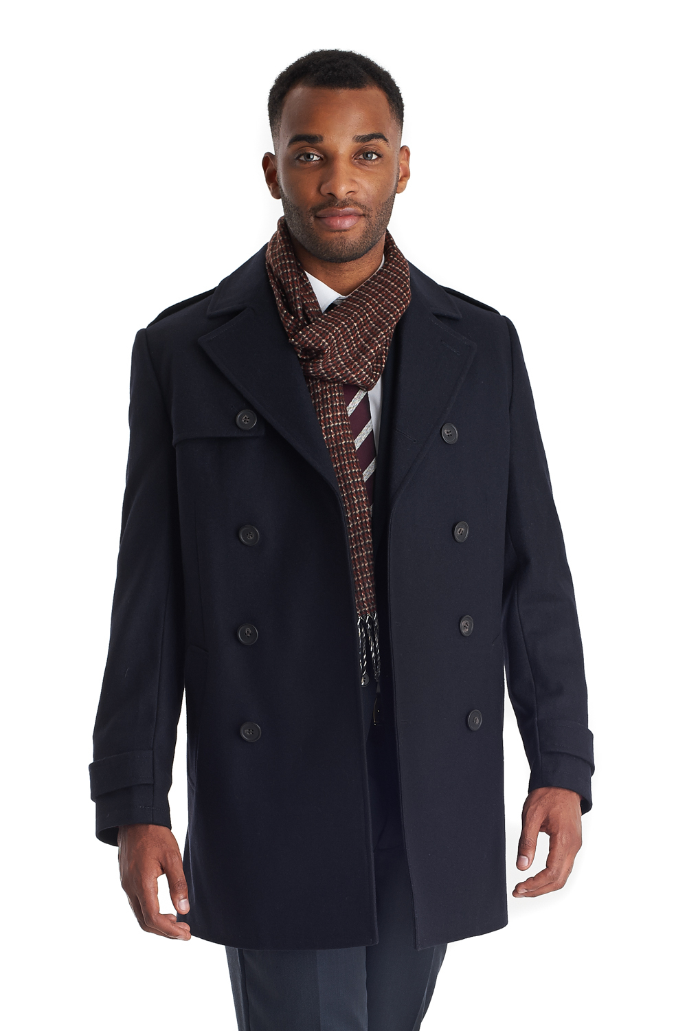 French connection Tailored Fit Double Breasted Jacket Navy in Blue