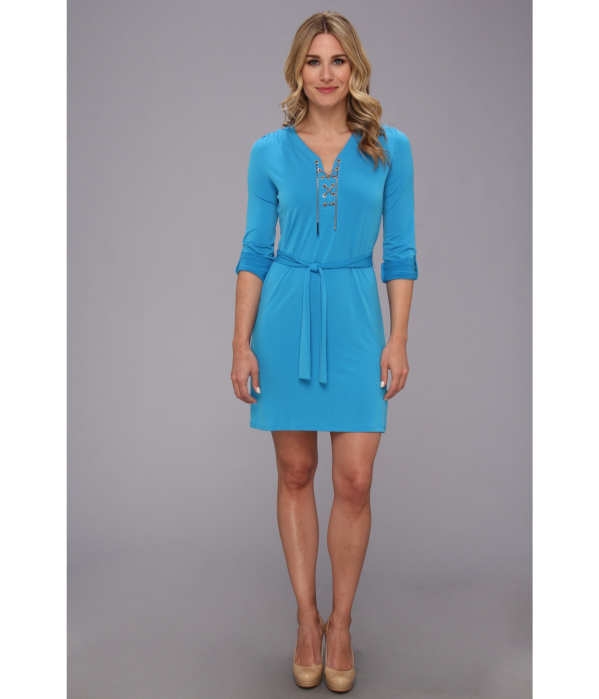 9d2f892d707 MICHAEL Michael Kors Chain Solid Knit Tie Dress in Blue - Lyst