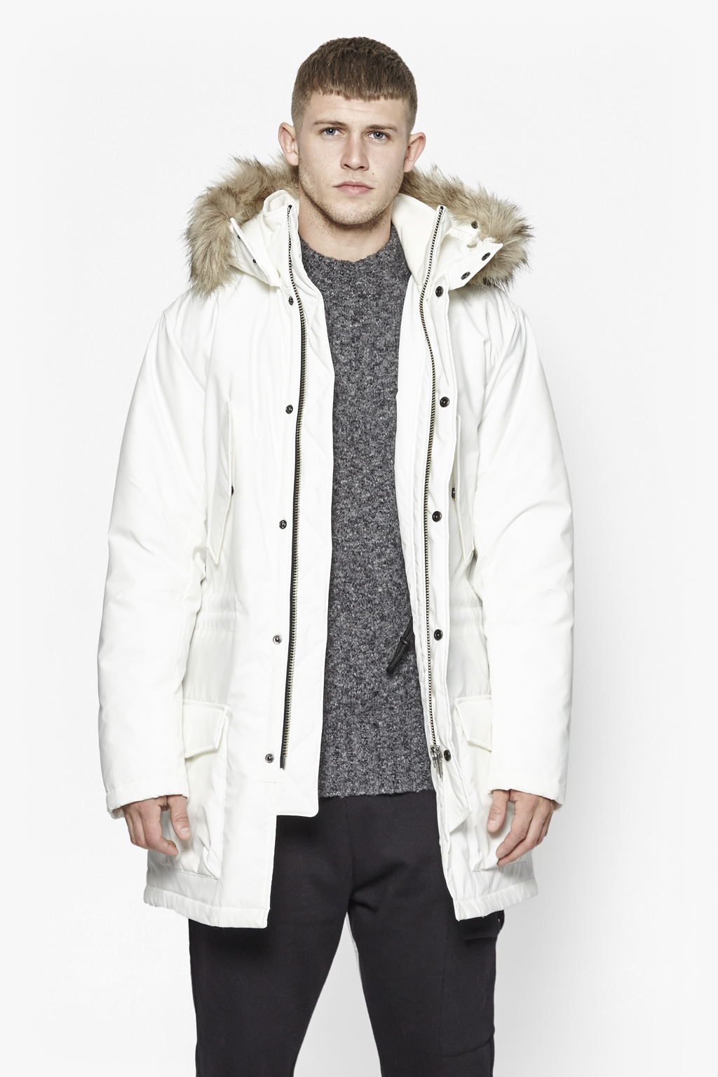 French connection Richmond Faux Fur Hooded Parka in White for Men ...