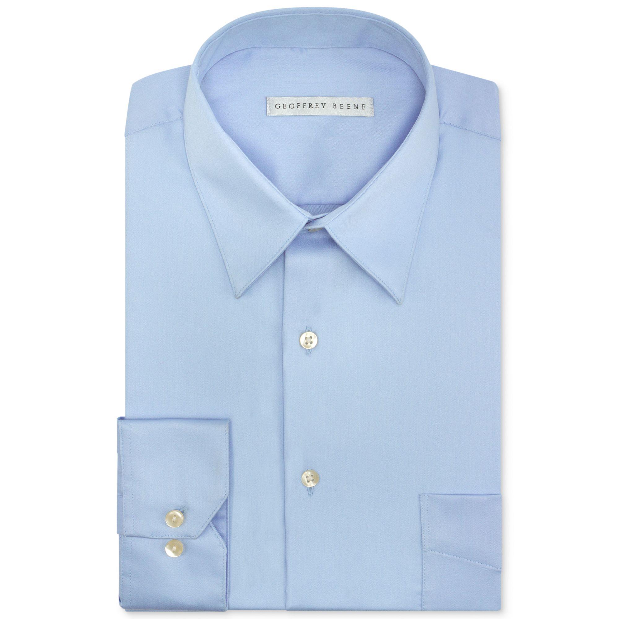 Lyst Geoffrey Beene Sateen Solid Dress Shirt In Blue For Men
