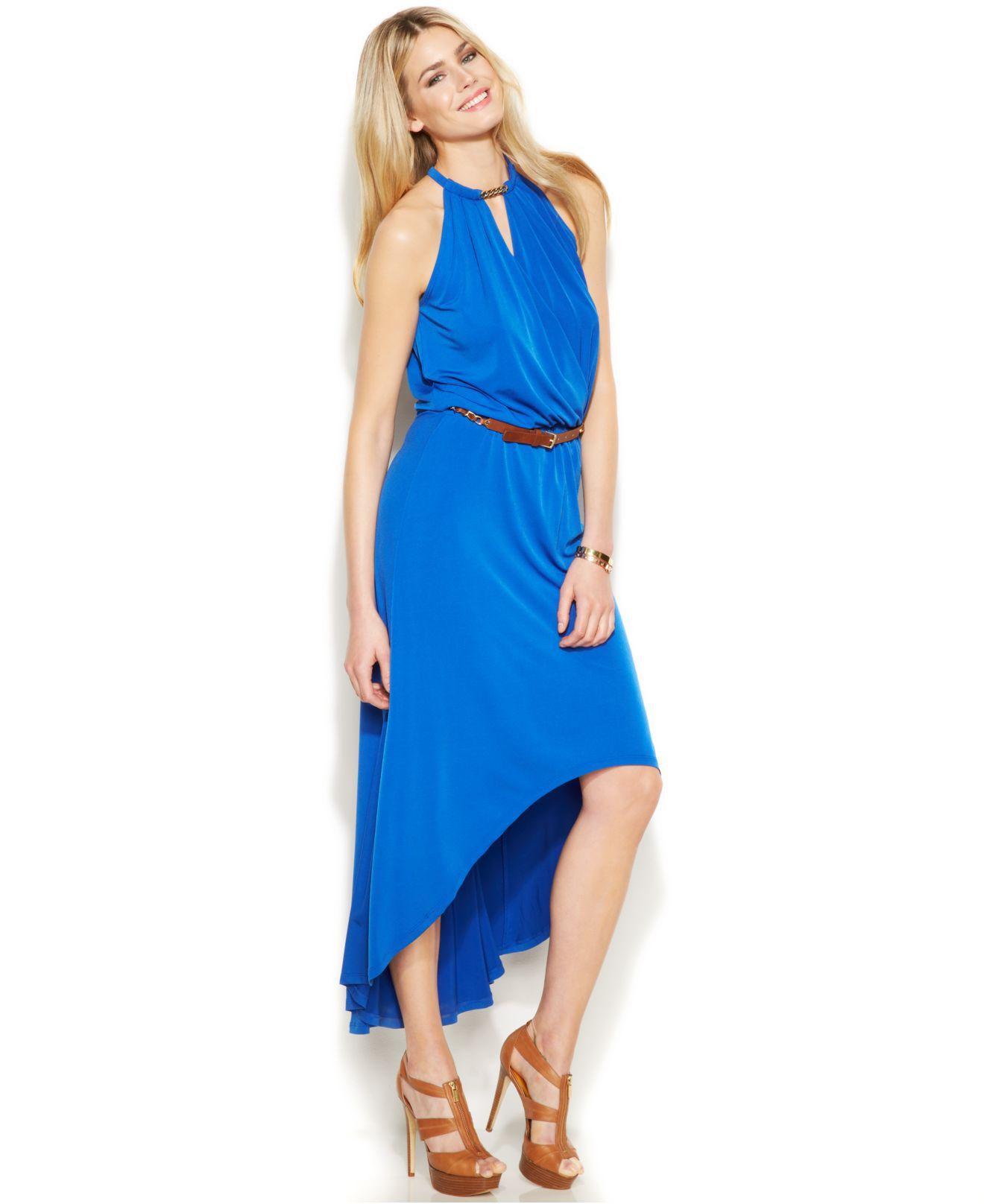 michael kors michael belted high low halter dress in blue