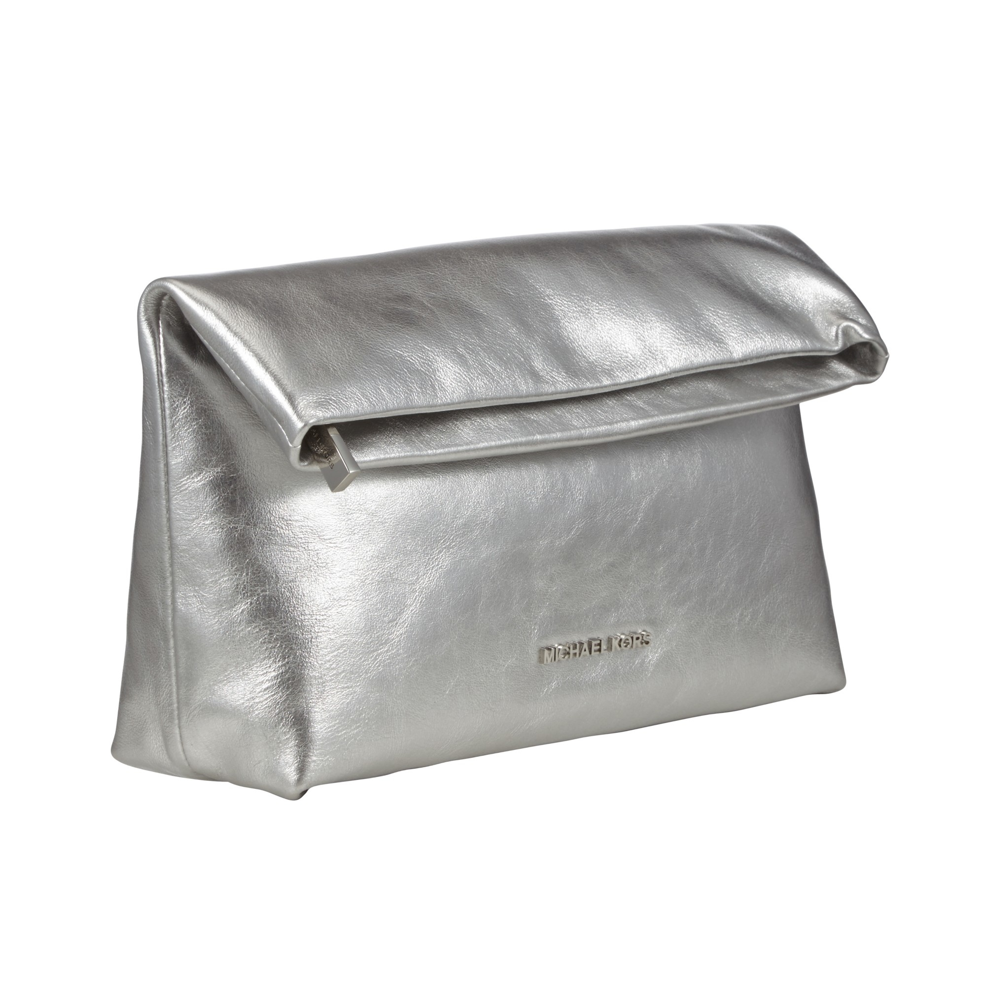 0c90c9a7b74746 ... promo code for michael michael kors daria fold over leather clutch bag  in metallic 91826 fce72