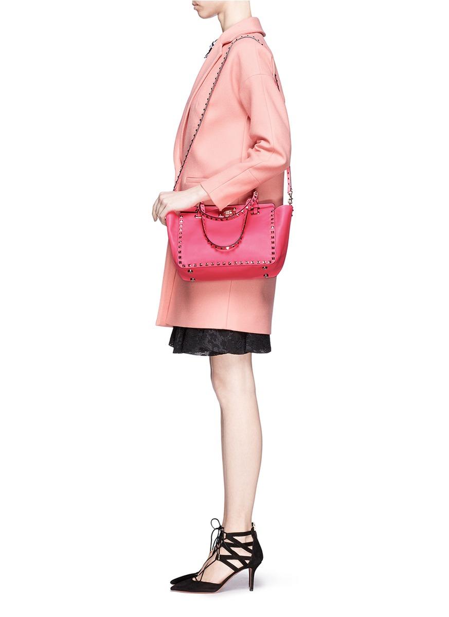 9d6e2a6833 Valentino Rockstud Mini Leather Tote in Pink - Lyst