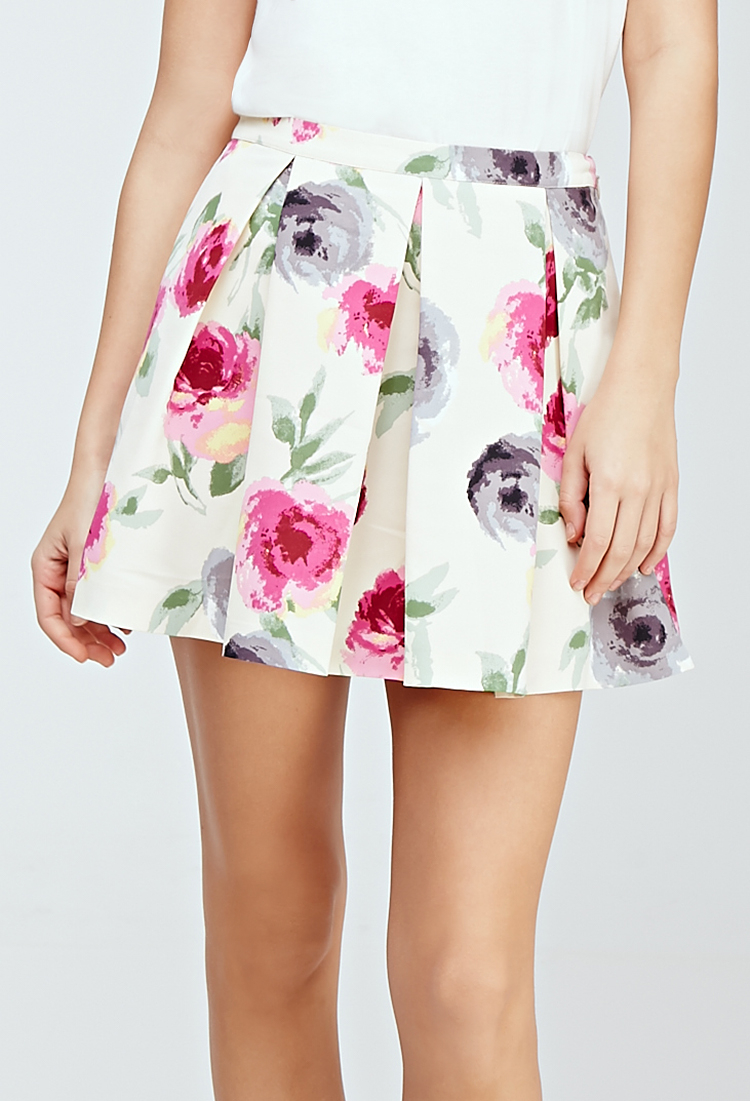 13d7707897 Forever 21 Pleated Watercolor Floral Skirt in Natural - Lyst