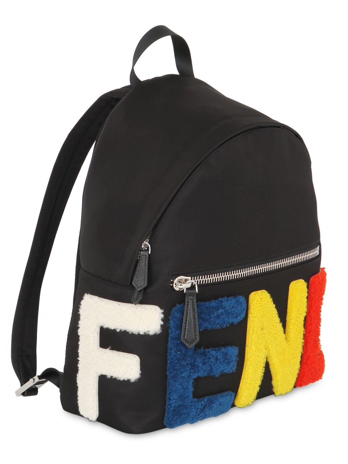 93f8b9087048 Lyst - Fendi Logo Patches Nylon   Shearling Backpack in Black for Men