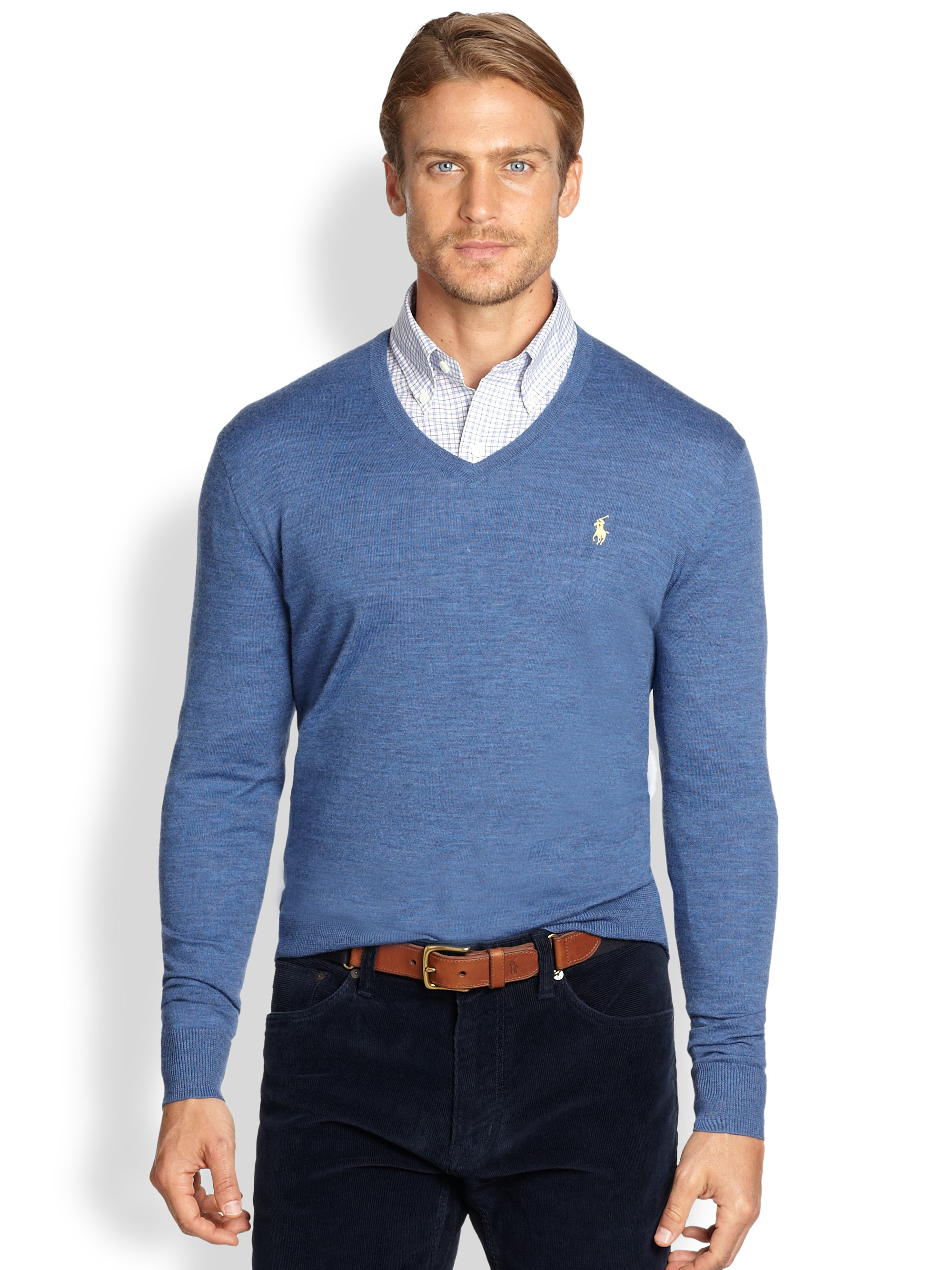 v neck sweater polo