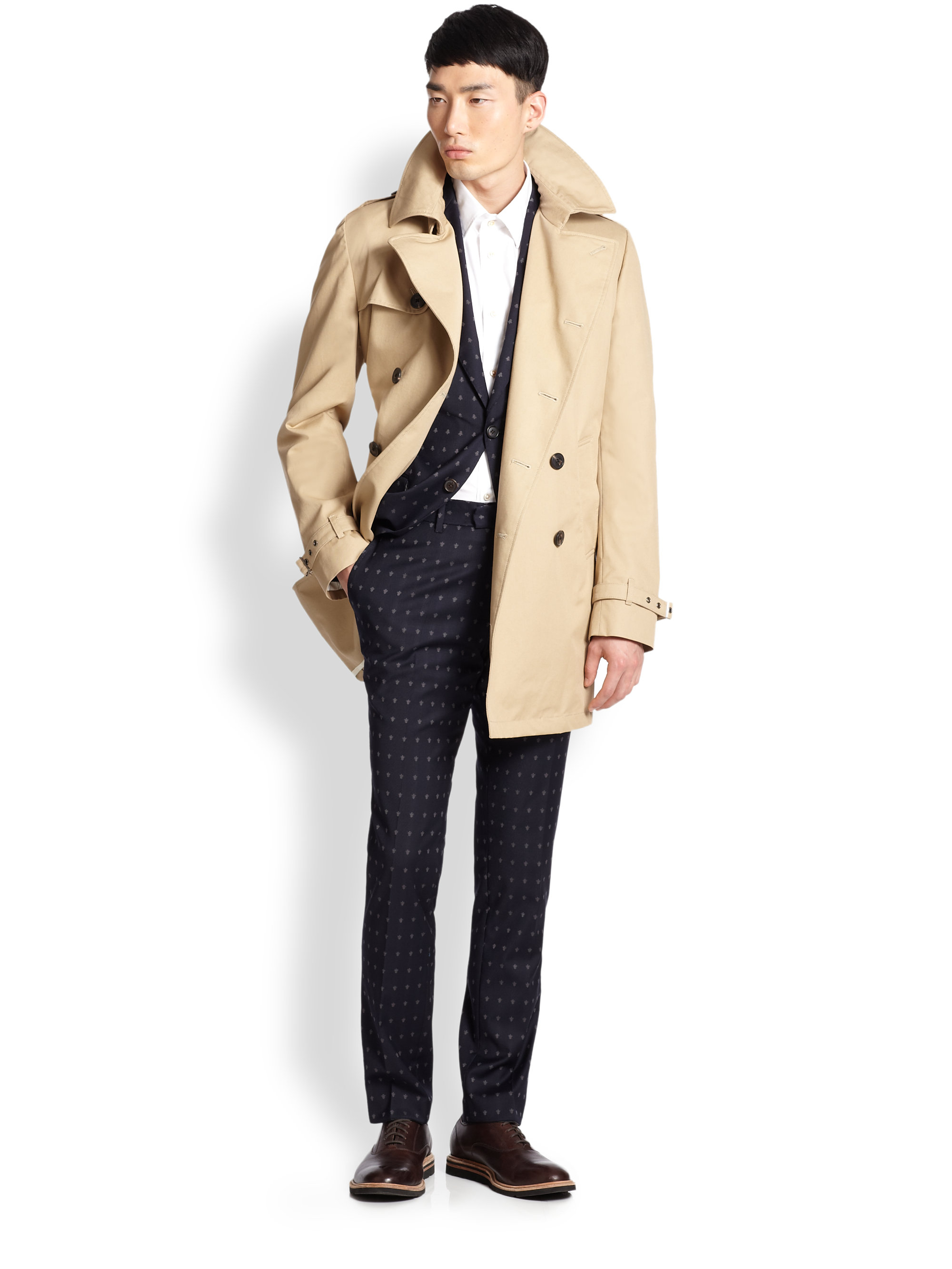 Atelier scotch belted double breasted cotton trenchcoat in for Atelier maison scotch