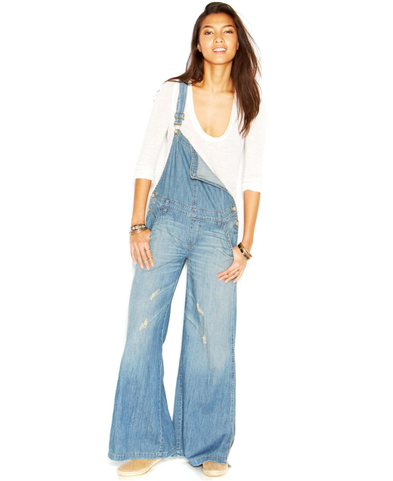 5632db765d6 Lyst - Free People D-Ring Back Washed-Chambray Wide-Leg Overalls in Blue