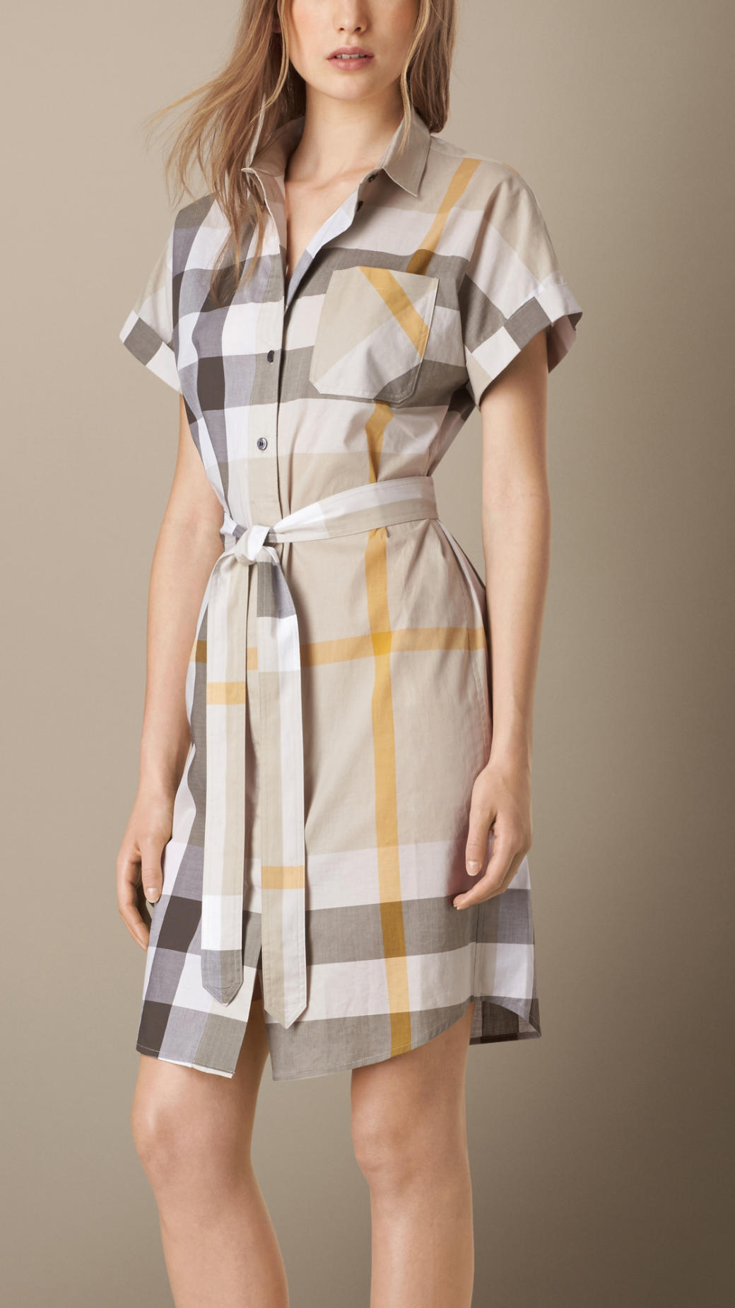 Burberry Checked Cotton Shirt Dress In Gray Mink Grey Lyst