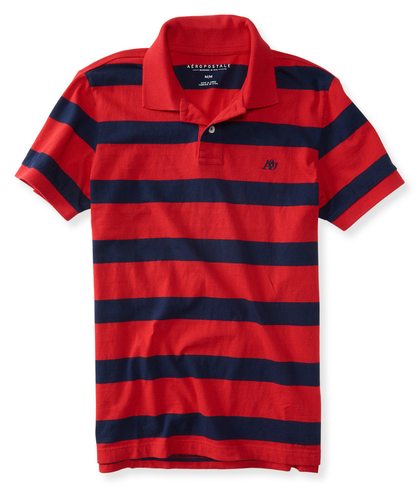 456272a1d Aeropostale Mens A87 Stripe Jersey Polo Shirt – EDGE Engineering and ...