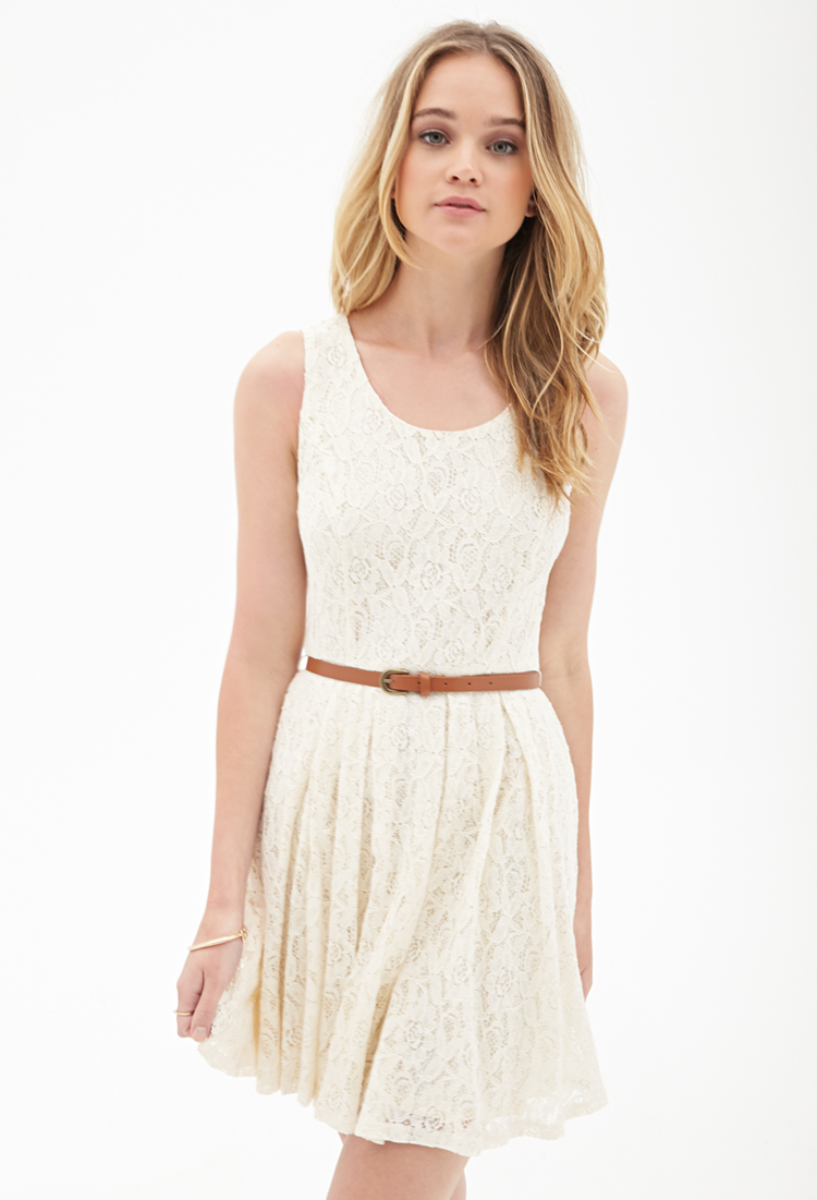 Lyst - Forever 21 Belted Crochet Lace Dress in White c975230722