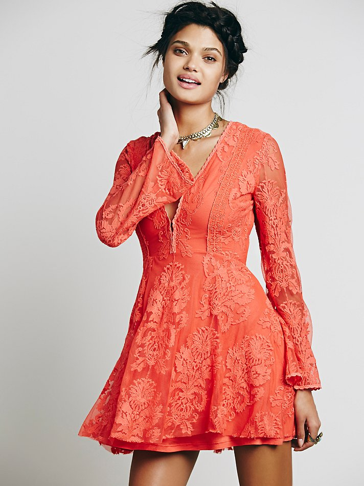 31d904bd08de Lyst - Free People Reign Over Me Lace Dress in Orange