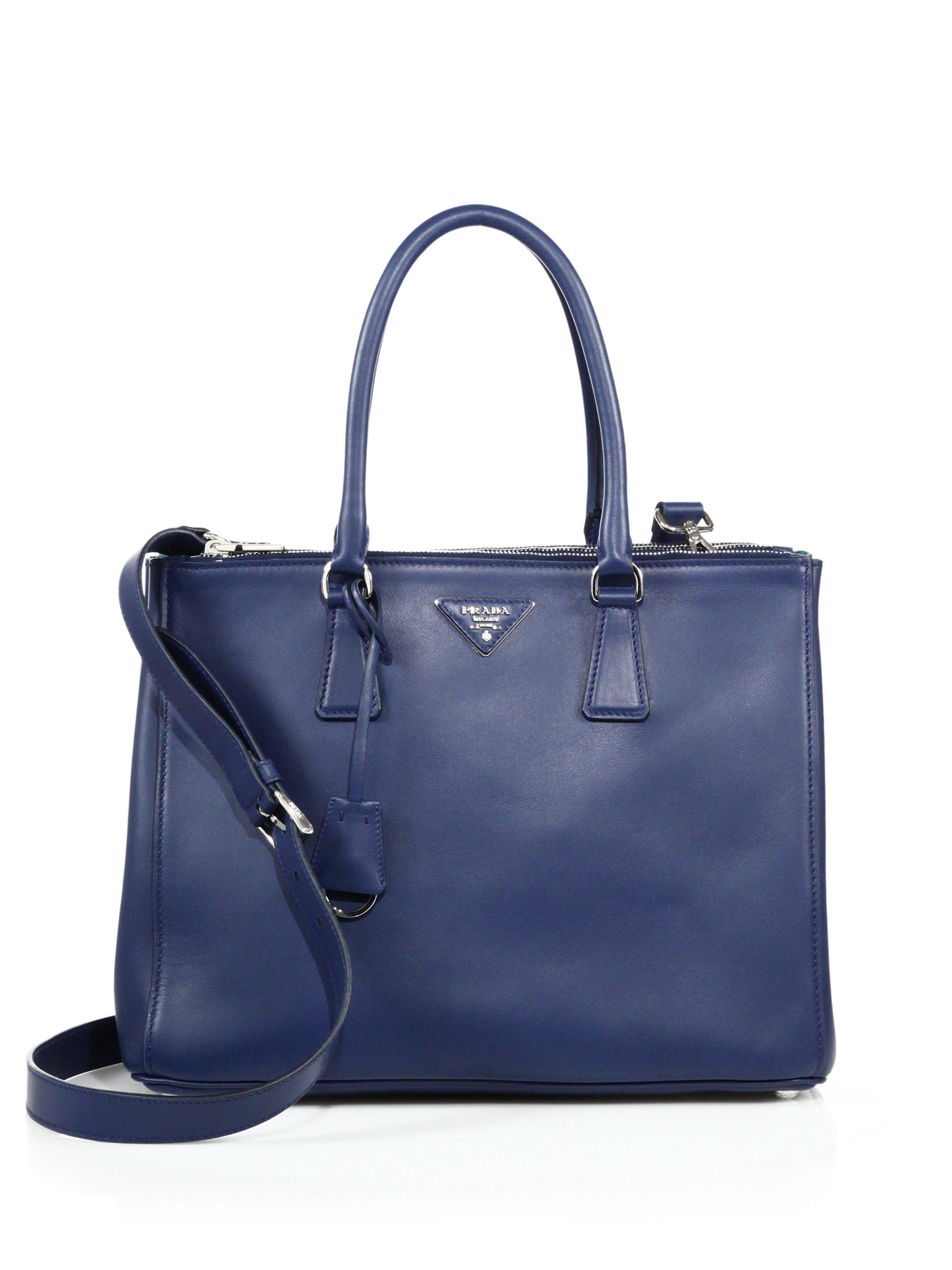 prada handbag sale - Prada City Calf Medium Double-zip Tote in Blue (bluette) | Lyst