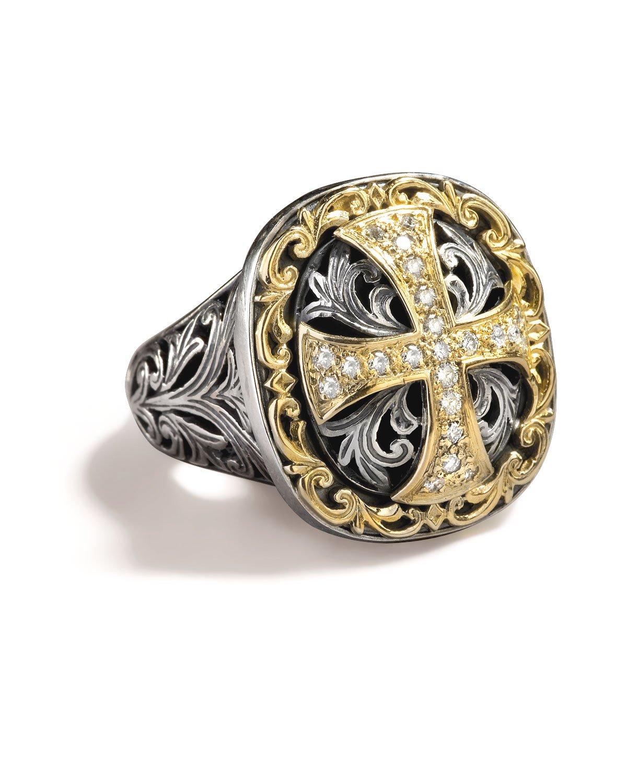 konstantino cross ring in metallic lyst