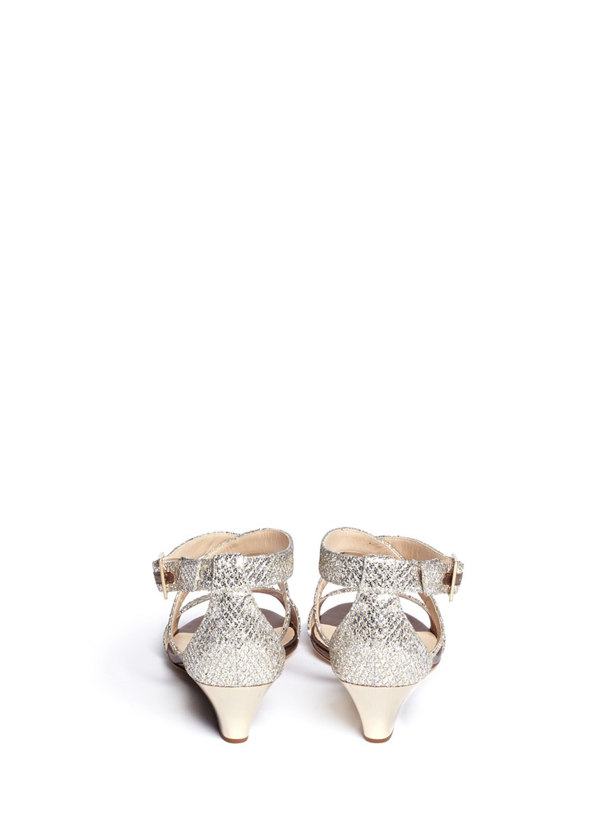 4a5a0dbcfb94 Lyst - Jimmy Choo  chiara  Glitter Wedge Sandals in Metallic