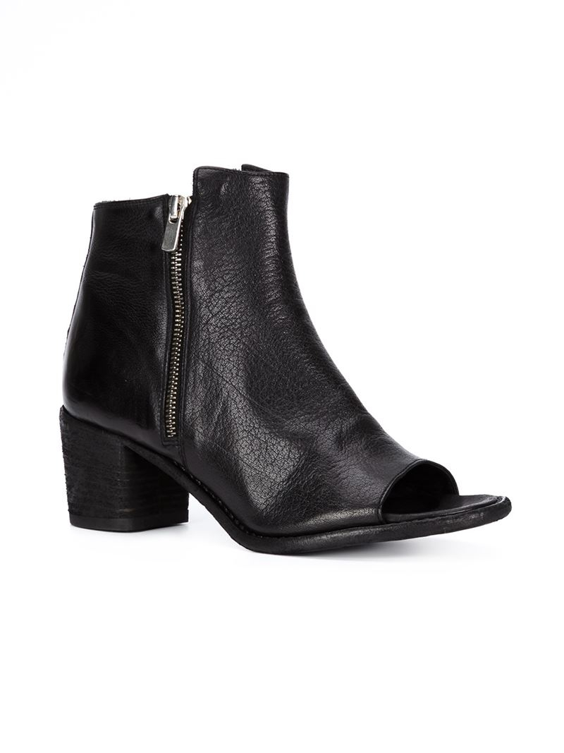 Lyst Officine Creative Peep Toe Ankle Boots In Black
