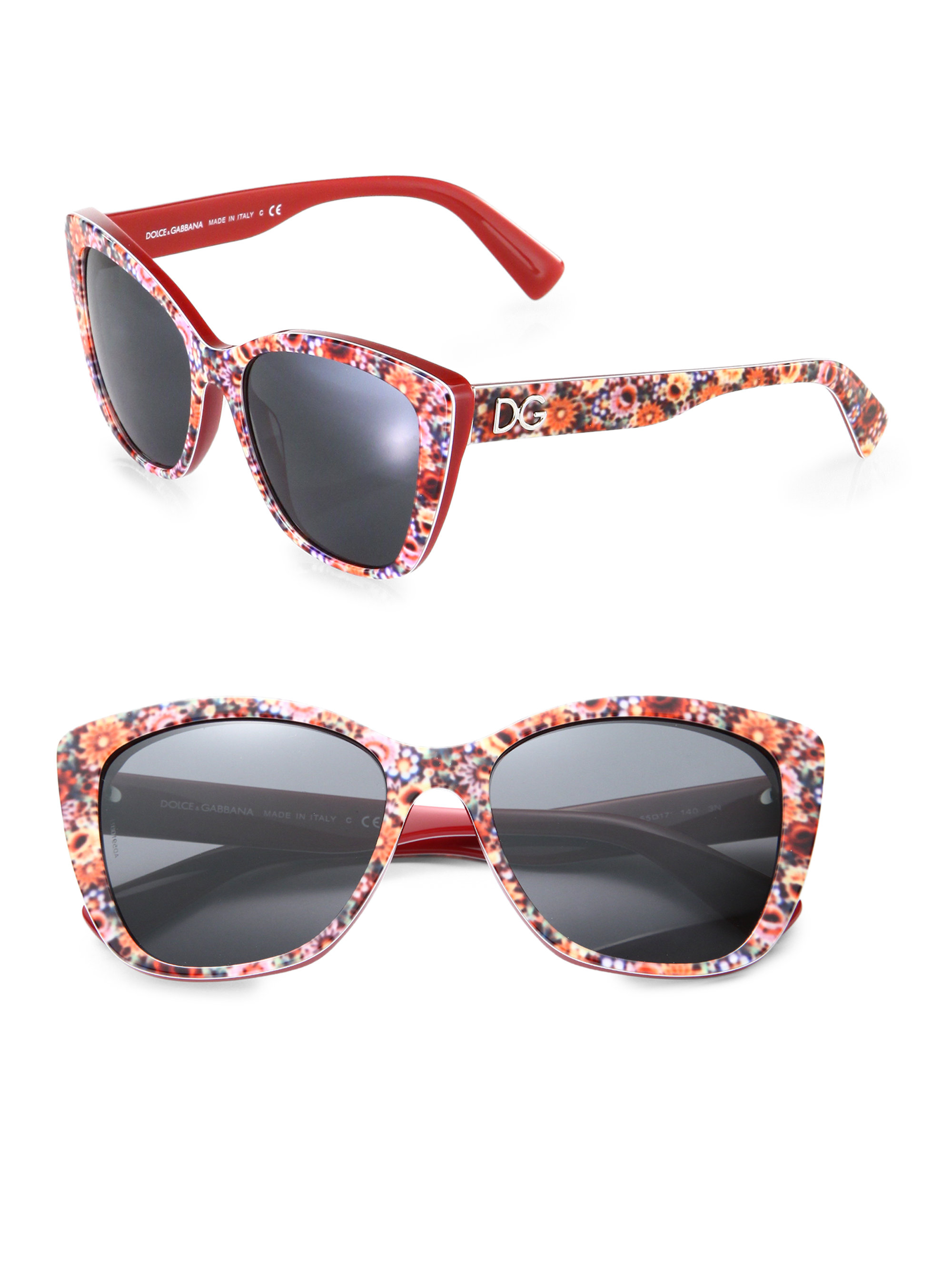 Dolce Gabbana Cat Eye Sunglasses  dolce gabbana fl printed modified cat s eye sunglasses in