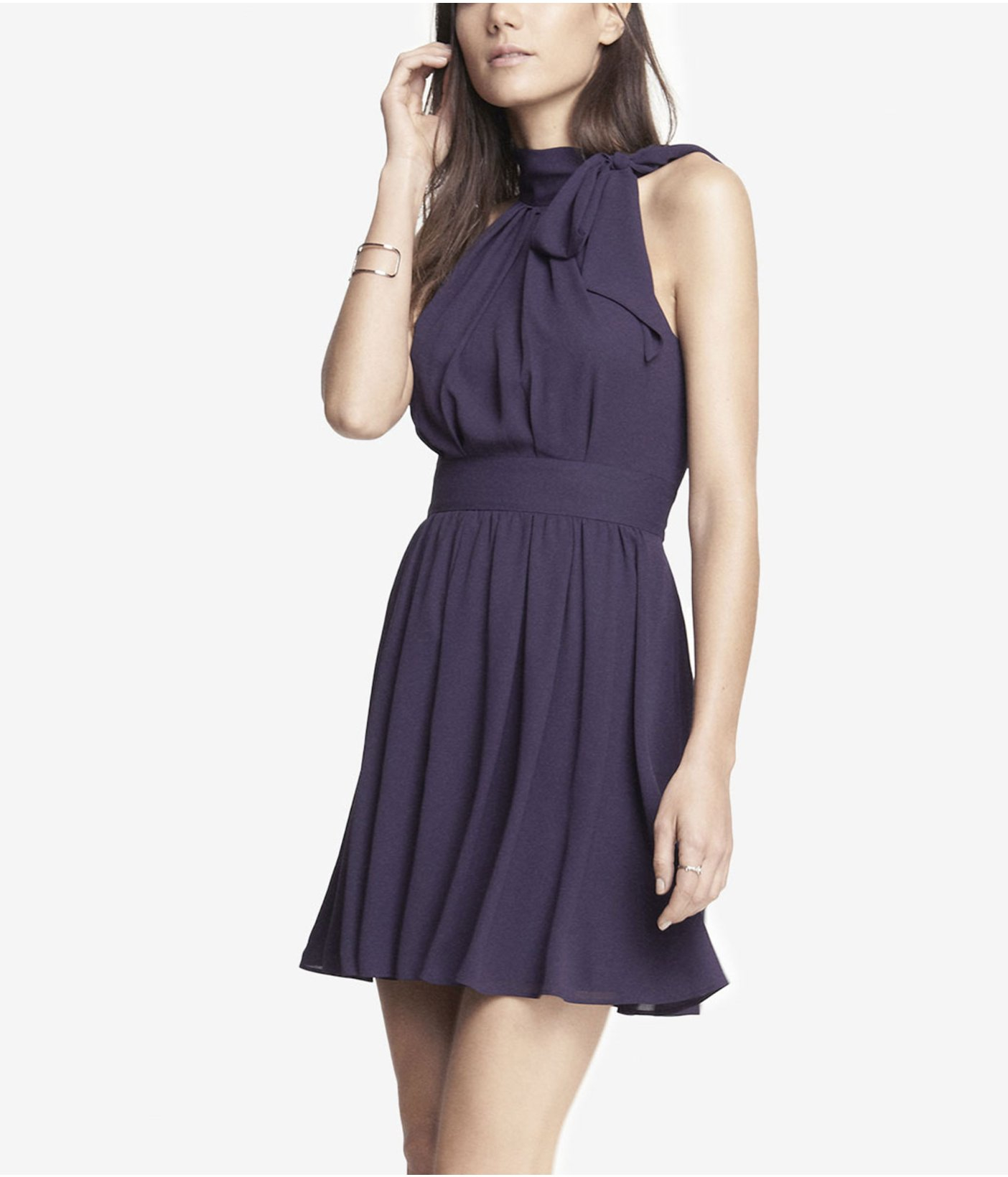 Express tie neck halter dress in blue plum lyst for Express shirt and tie