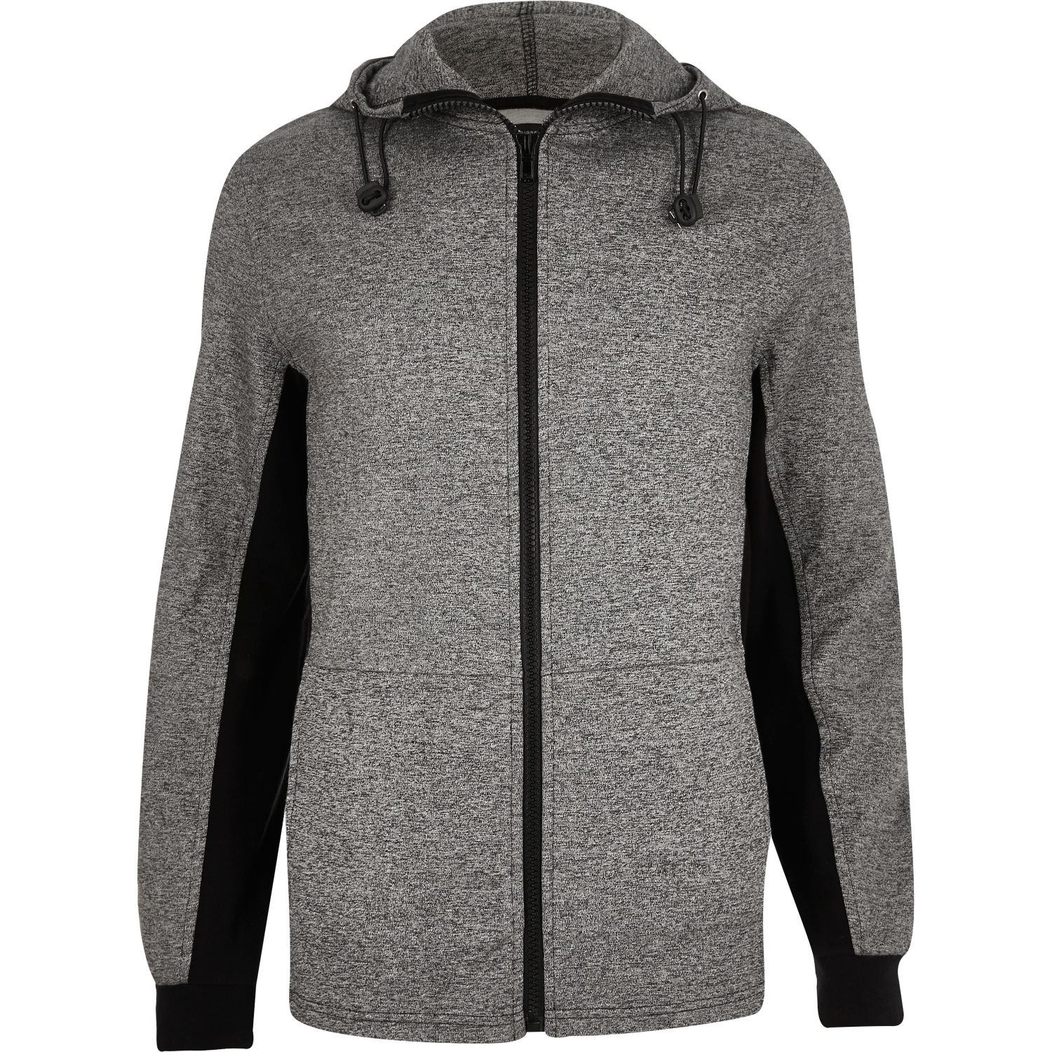 River island Dark Grey Zip-up Hoodie in Gray for Men | Lyst