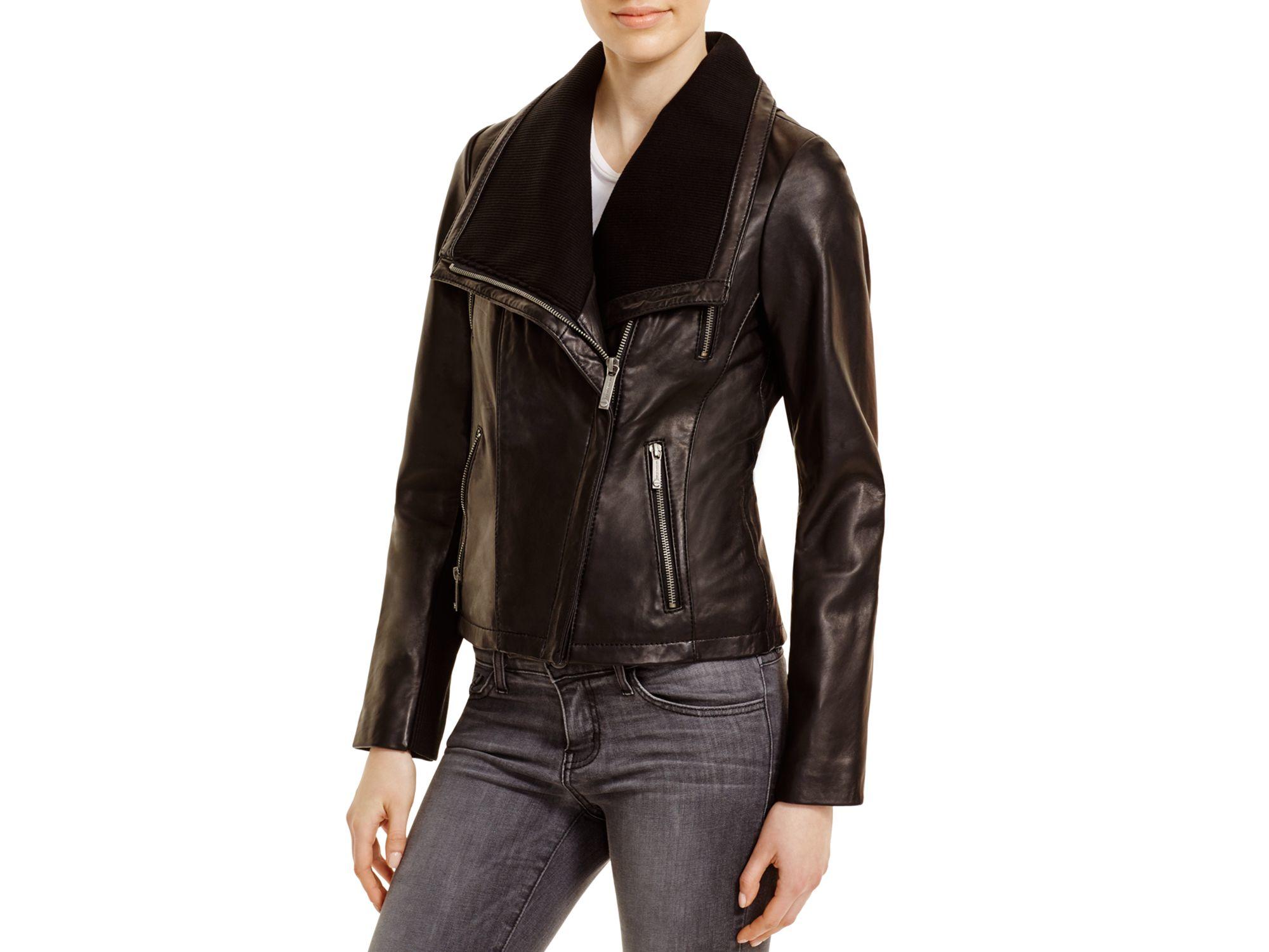 0ad75ca9 MICHAEL Michael Kors Asymmetric Zip Front Leather Jacket in Black - Lyst