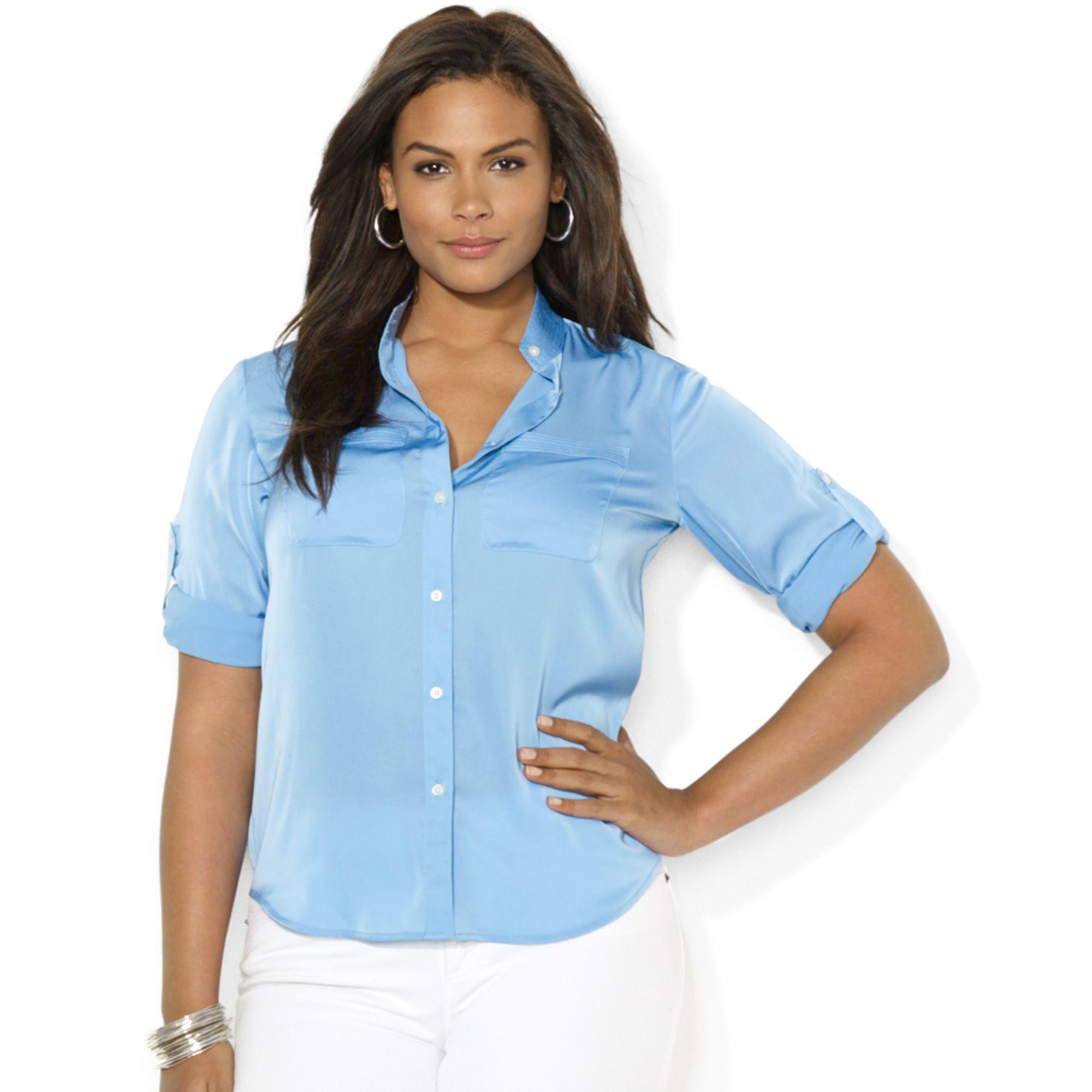 Lauren by ralph lauren plus size tabsleeve satin shirt in for Plus size light blue shirt