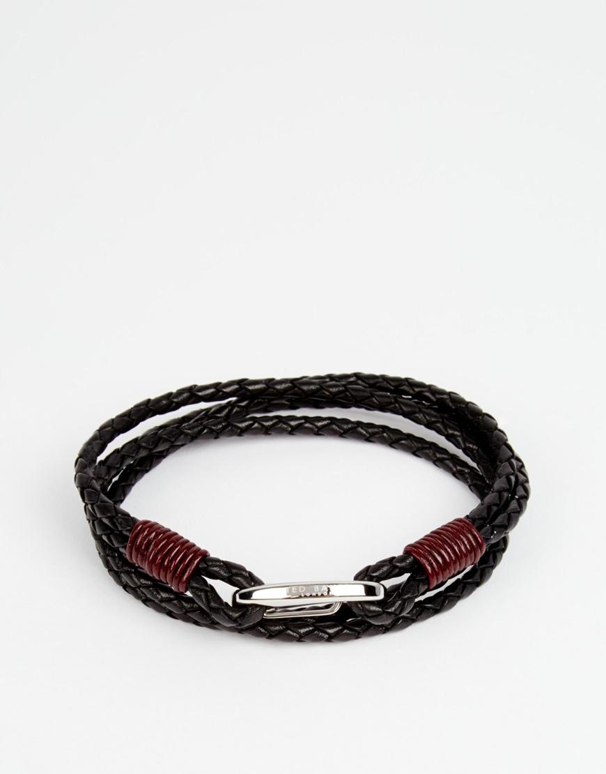 ee17a18780c1 Lyst - Ted Baker Leather Plaited Bracelet in Black for Men