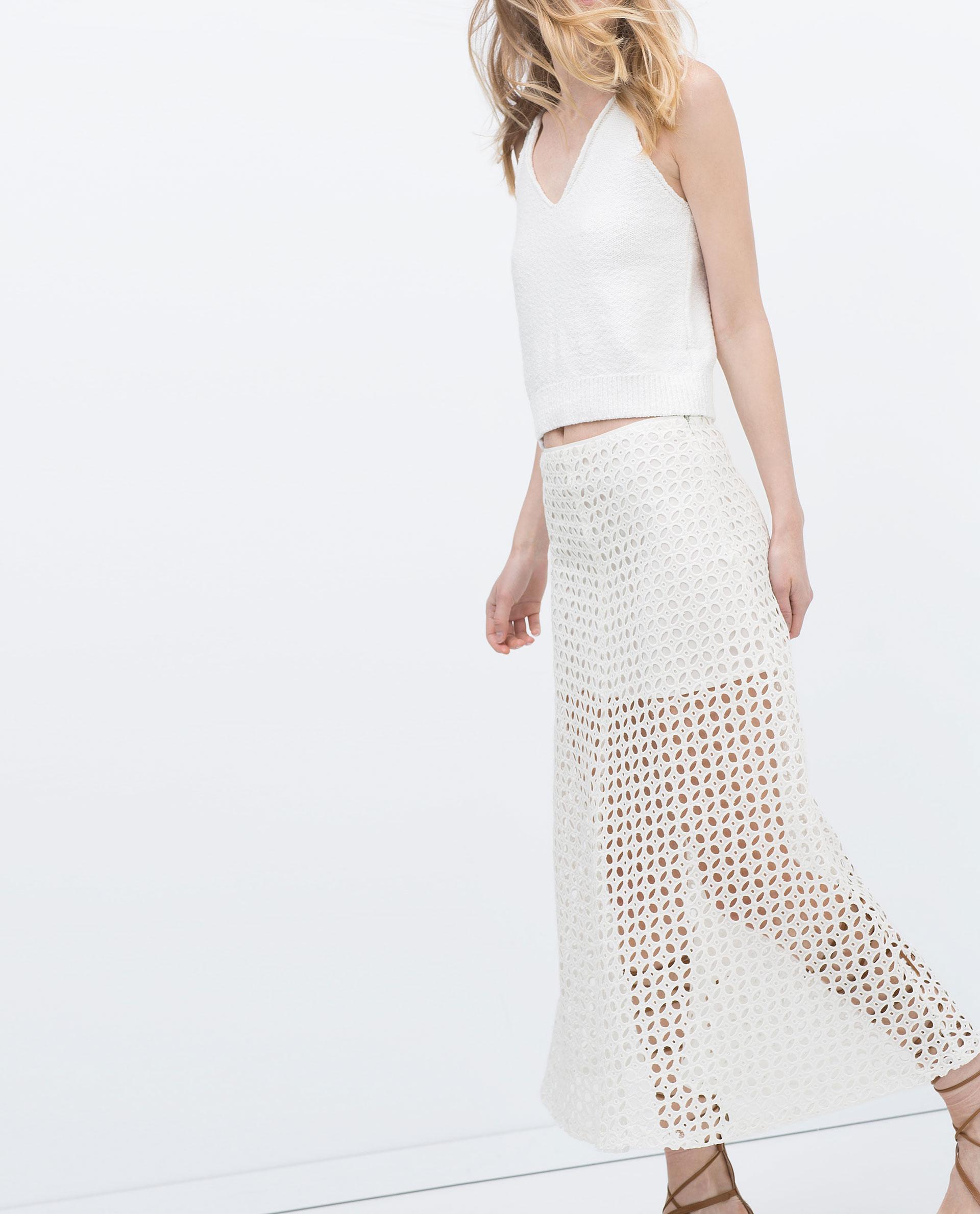 zara midi skirt in white lyst