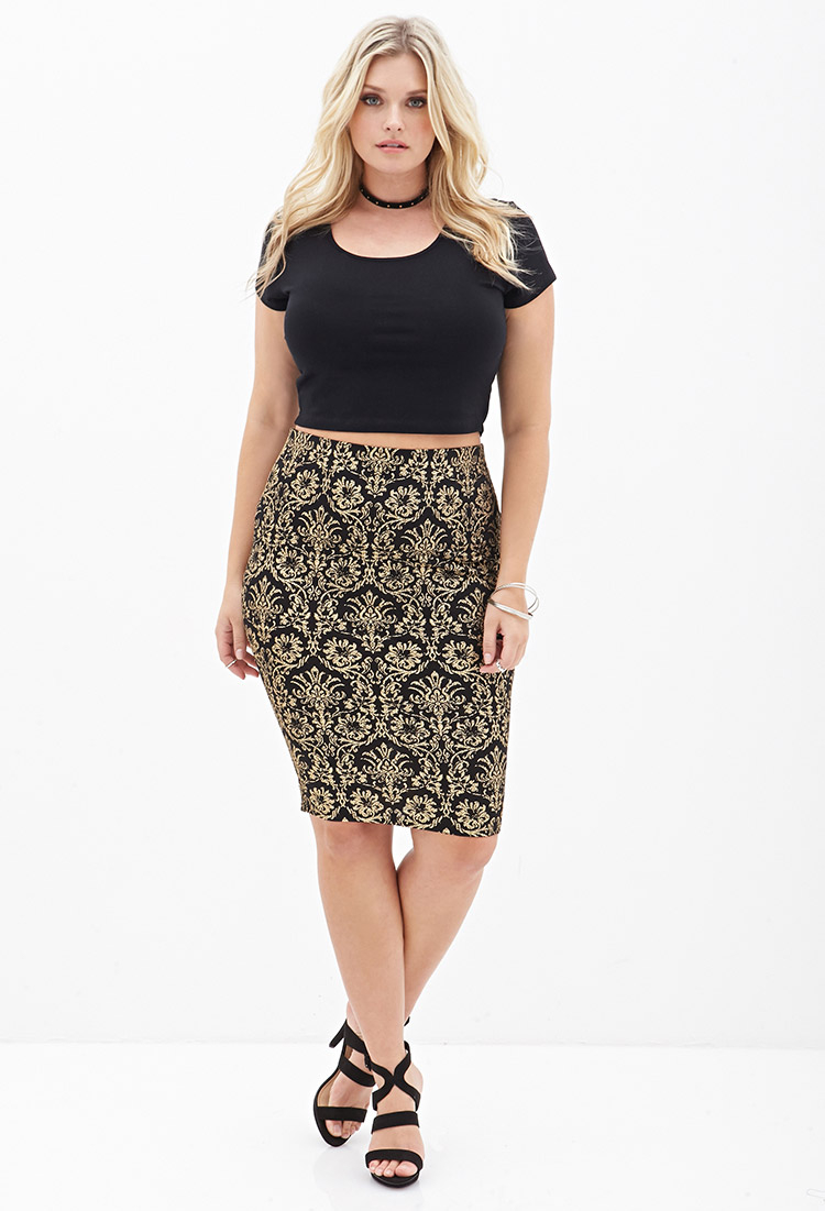 Forever 21 Baroque Patterned Midi Skirt in Metallic | Lyst