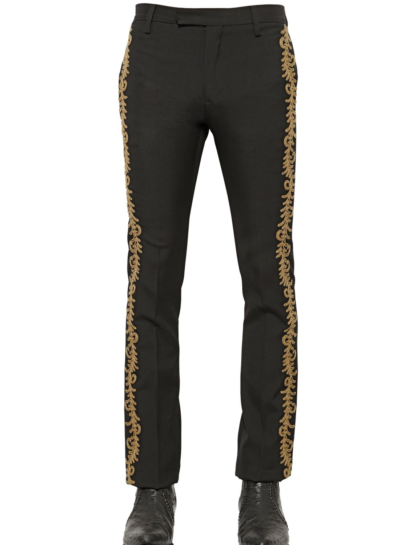 Lyst saint laurent embroidered wool gabardine pants in